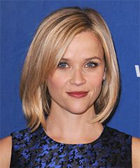 Reese Witherspoon Hairstyle - Casual Medium Straight-Low-fuss is the main idea for this 'do. The length is jagged cut to sit under the jaw-line and blow-waved smooth to frame the face for a sweet and simple look and feel. This is a great hairstyle for those with fine to medium hair