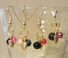 Banded Black Onyx & Gold Leaf Dangle Earrings by Pizzelwaddels, $13.97