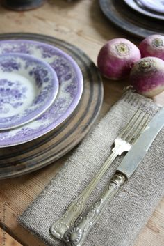 rustic farmhouse table setting with lilac transferware