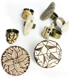 Wood rings: driftwood, sliced branches, wood burned medallions