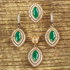 Hurrem Sultan Set Marquise Emerald Color Turkish Ottoman Jewelry 925 SS #Unbranded