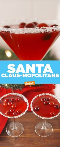 Santa Claus-mopolitans will keep you merry & bright all season long. Get the recipe at Delish.com. #cosmopolitan #delish #santa #recipe #easyrecipe #vodka #alcohl #booze #holiday