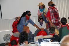group game - blind fold and then sit on an exercise ball