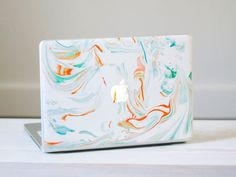 Marble MacBook Decal - Orange, Red and Blue Vinyl Laptop Skin Macbook Skin, Macbook Decal, Macbook Case, Laptop Skin, Laptop Cases, Phone Cases, Vibrant Colors, Colours, Elements Of Style