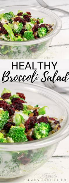 Healthy Broccoli Salad - A healthier version of a simple, classic broccoli salad that serves as a great fast side dish for any party or potluck. Made with cranberries, sunflower seeds, onion and a homemade Greek yogurt dressing, this is one of my favori Best Salad Recipes, Healthy Cooking, Healthy Dinner Recipes, Vegetarian Recipes, Healthy Eating, Broccoli Salad With Cranberries, Greek Yogurt Dressing, Healthy Broccoli Salad, Potluck Salad