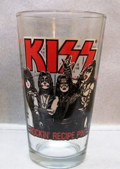 "KISS ROCK AND ROLL BAND RECIPE PINT GLASS 5 3/4"" TALL IC D"