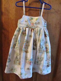 Girls Sundress in Beatrix Potter Print Size 4. $28.00, via Etsy.