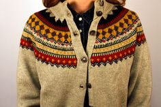 Hand Knit Norwegian Cardigan Size S/M by KLCvintage on Etsy