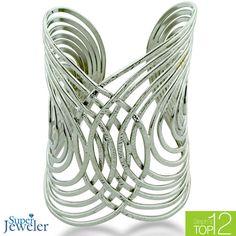 Wide Silver Tone Interwoven Circle Cuff Bracelet - $29.99
