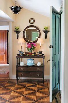 Entry table and mirrors Natural Flooring, Stenciled Floor, Modern Carpet, Step Inside, Small Living Rooms, Decoration, Home Furnishings, Home Furniture, Entry Hall