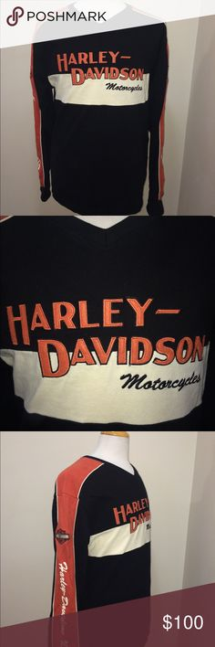 Vintage Harley Davidson Crewneck Size Large BlkOrg Pre Owned in excellent conditions  See images for more details  Won't last long! Harley-Davidson Sweaters Crewneck