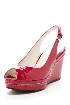 Love the color! {Capexcise Patent Wedge in Strawberry} Stuart Weitzman