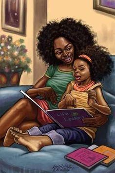 Family - Lonnie Ollivierre Art gives me life Black Love Art, Black Girl Art, Black Is Beautiful, Art Girl, Black Child, Natural Hair Art, Pelo Natural, Black Art Painting, Black Artwork