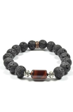 """Product Details -Real 10mm Lava Rocks with a Red Tiger Eye Column Bead  Color: Black/Brown Material:LavaRock, Tiger Eye Measurements: 8""""L Origin: USA"""