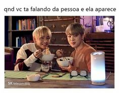 BTS - V is on the left and Jimin is on the right Sk Telecom, Bts Boys, Bts Bangtan Boy, Jimin, Bts Taehyung, Famous Meme, Vkook Memes, Bts Vmin, Bts Memes Hilarious