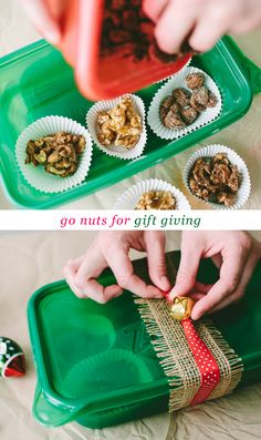 EASY GIFT // holiday nut mixes in plastic containers with burlap, ribbon, and a bell on top!