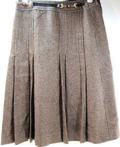 Celine Women VTG Herring Bone Skirt Size 38 Pleated Beige Black Made France #CLINE #Pleated