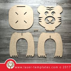 Laser cut Tiger Kids Chair Template, download vector design patterns.