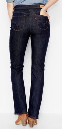 LEVI'S 512 PERFECTLY SLIMMING BOOT CUT JEANS - DARK BLUE RINSE - SIZE 12 #Levis #BootCut