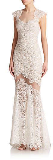 Mignon Cap-Sleeve Sheer Cut Out Lace Gown