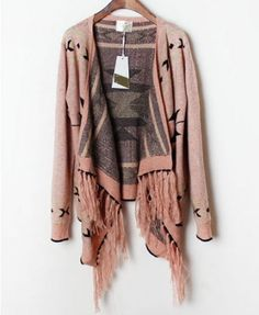 Geometric Pattern Cardigans with Fringe Hem - Cardigans - Knitwear - Clothing