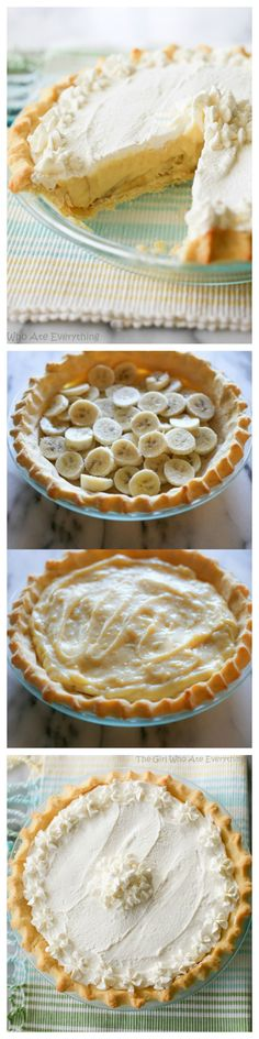 Banana Cream Pie - super easy homemade custard and layers of bananas. the-girl-who-ate-everything.com