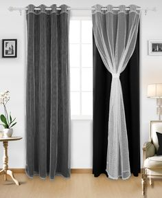 Deconovo Mix and Match Curtain Set Thermal Insultaed Blackout Curtian 2 Pieces with 2 Mesh Lace White Sheer Curtains Grommet Top Window Curtains for Living Room 4 Panels 52 X 84 Inch Black Curtains Bedroom, Black Sheer Curtains, Dark Curtains, Bedroom Black, Grommet Curtains, Panel Curtains, Diy Blackout Curtains, Layered Curtains, Luxury Curtains