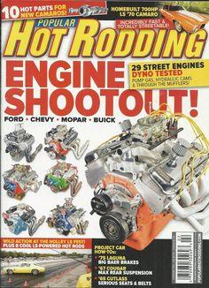 Popular Hot Rodding magazine Engine shootout Ford Chevy Mopar Buick Camaro parts Car Magazine, Magazine Covers, 70 Camaro, Drag Cars, Buick, Mopar, Chevy, Engine, Ford