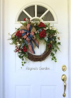 Patriotic Wreath-Americana Wreath-Summer Door Wreath-Memorial Day Wreath-Fourth of July Wreath-Farmhouse Decor-Country Wreath-Rustic Wreath Show your patriotic spirit with this old-fashioned red, white and blue garden wreath. I love the look of this wreath....it makes me think of #TheRusticLook