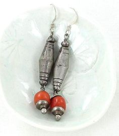 CORAL STERLING SILVER EARRINGS VINTAGE NEPALI SILVER from New World Gems