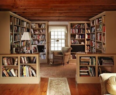 neat idea if you can't have a seperate library. You can build one n another room. Cozy Home Library Interior Idea (48)
