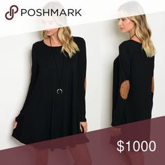 NEW Black Tunic Dress Tan Elbow Patches & Pockets + Black tunic dress | all black with tan colored elbow patches and pockets! + 95% Rayon and 5% spandex Dresses Long Sleeve