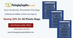 Resealable poly Bags, Warning Bags