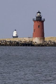 The lighthouses on the breakwater in Delaware Bay just off of Lewes, DE.