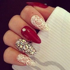 Lace, Red, Rhinestone Almond Stiletto Nail Designs