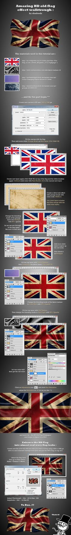 A task from my boss to create dirty look of the flag for use later in an apps that we currently develop. Actually he ask with no wavy effect, but some of my friends wants me to create the wavy one for lessons.so the tutorial idea is came out of my mind. Actions Photoshop, Photoshop Effects, Photoshop Design, Photoshop Tutorial, Graphic Design Lessons, Graphic Design Tutorials, Graphic Design Inspiration, Graphisches Design, Tool Design