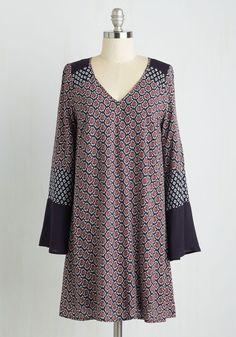 Art Assessment Dress - Multi, Blue, Paisley, Print, Casual, Boho, Festival, Shift, Long Sleeve, Woven, Good, Mid-length
