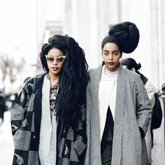 nappy-by-nature:Dem Twins!Quann Sisters Make Vogue, ELLE, Harper's Bazaar,Marie Claire, WWD, DVF - Diane von Furstenberg, MSN's Best Dressed Street Style & Hair Plus More. Visit Urban Bush Babes for more photos on our (Cipriana Quann & TK Quann aka TK Wonder) style —>http://bit.ly/1DsIIvTPhoto: Adrian Morales — with TK Wonder.