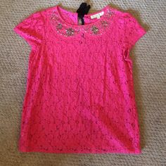 B2G1 LOFT Pink Lace Jeweled Top Beautiful loose fit lace top in bright pink. Jeweled neckline. All jewels in tact. Worn once and in like new condition. Black tie closure in the back. Lovely top for work or going out. LOFT Tops Blouses