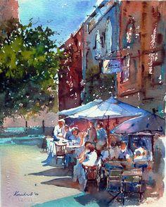 The Outdoor Cafe // watercolor. Watercolor City, Watercolor Sketch, Watercolor Landscape, Watercolor Paintings, Watercolours, Watercolor Architecture, Parasols, Guache, Thomas Kinkade