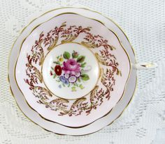 Paragon Mauve Tea Cup and Saucer, Antique Tea Cup with Floral Center and Gold Decor, Fine Bone China