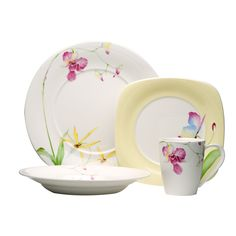 Pretty pink flowers bloom against the white china of this Red Vanilla dinnerware set. The dishes allow you to serve your meals in style. Leilani 16-piece dinnerware set Provides service for four Plate