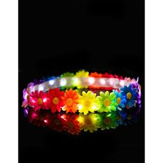 Rainbow Blooms LED Headband ($25) ❤ liked on Polyvore featuring accessories, hair accessories, headband hair accessories, flower headwrap, head wrap headband, hair band headband and hair bands accessories