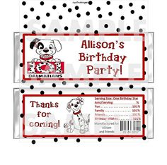 Personalized 101 DALMATIONS Party Favors! #BirthdayChild #partyfavors