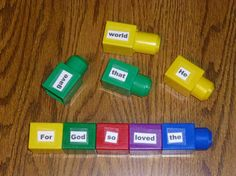 "BUILD A VERSE & TAKE AWAY - Bible Memorization Lego Games -- Boys and girls can use Lego blocks to build a verse. Then the game ""Take Away"" can be played by removing one block, quoting the verse, removing another block, saying the verse, and so on until the verse is being said from memory and no blocks are left. From Children's Bible Ideas Unlimited."
