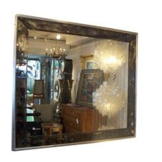 Smoked-Glass Mirror with Silver-Leaf Frame