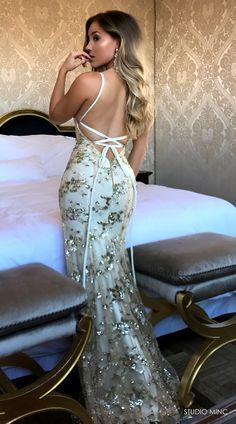 GOLD JADORE DRESS BY STUDIO MINC #BACKLESS #PROM #FORMAL #DRESS #SEQUIN