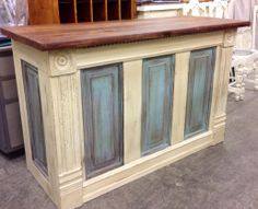 Specializing in Farmhouse and Cottage Chic furniture design and decor. I source local barn-wood and vintage. Kitchen Island Molding, Crown Molding Kitchen, Build Kitchen Island, Kitchen Island Makeover, Kitchen Nook, Kitchen Islands, Kitchen Ideas, Kitchen Cabinets, Wood Pallet Bar
