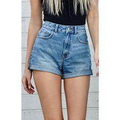 Bullhead Denim Co. Marine Blue Cuffed Denim Mom Shorts ($40) ❤ liked on Polyvore…