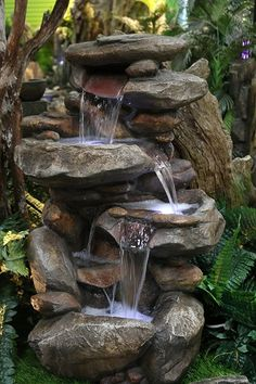 Alpine Rock Waterfall Fountain with LED Light – Indoor water fountains Outdoor Waterfall Fountain, Diy Water Fountain, Rock Fountain, Garden Water Fountains, Rock Waterfall, Indoor Waterfall, Stone Fountains, Garden Waterfall, Outdoor Fountains